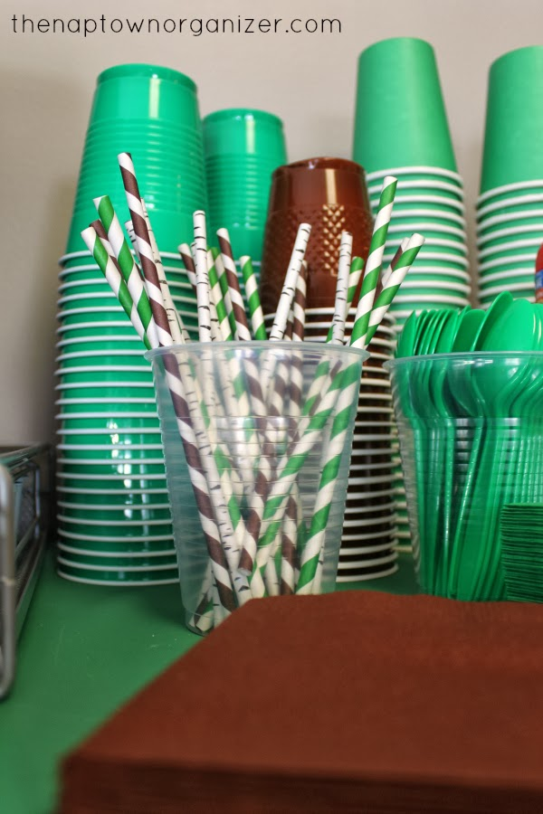 woodland birthday party themed paper straws