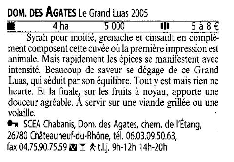 Domaine des Agates dans le Guide Hachette des Vins 2009