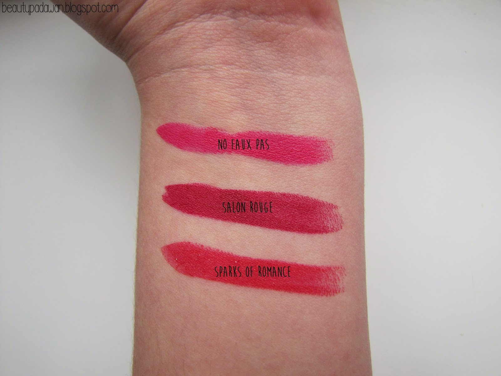 MAC Heirloom Mix Lipstick swatches - No Faux Pas, Salon Rouge, Sparks of Romance