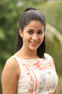 Lavanya Tripathi in lovely Cream Tank Top with Chest Print and Little hearts Print Trousers Stunning Beauty