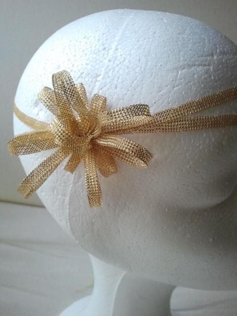 cinta, bodas, crin, dorada, tocados económicos, cintas para el pelo