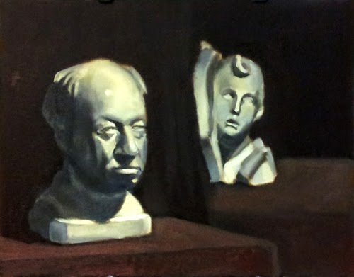 Oil painting of two plaster casts, one of a balding older man and the other of a young boy with a tuft of hair on his forehead.