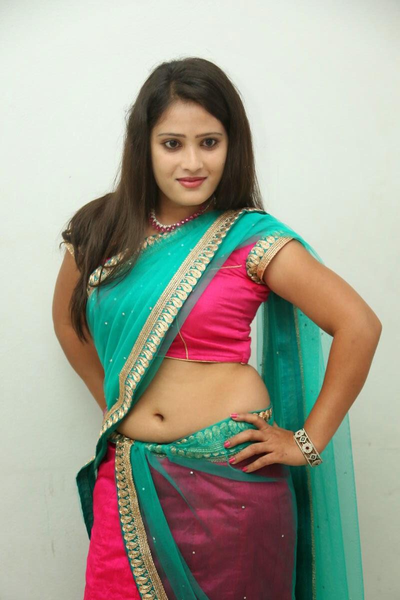Anusha South Actress in Beautiful Half Saree and Pink Blouse Spicy Pics