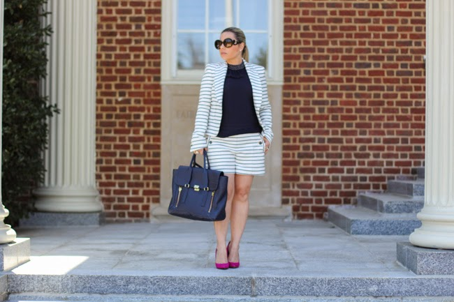 striped shorts suit outfit
