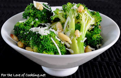 Broccoli with Garlic, Pine Nuts, and Asiago Cheese