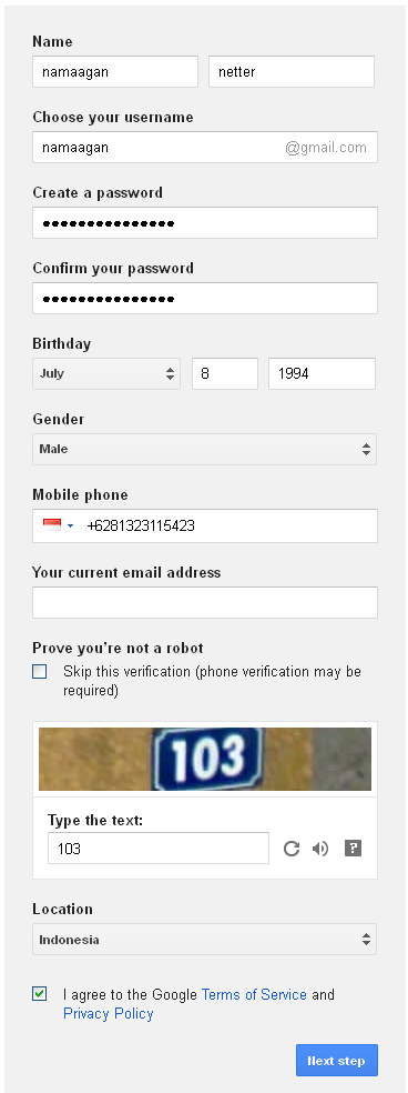 Cara Mengisi Formulir Pendaftaran Gmail