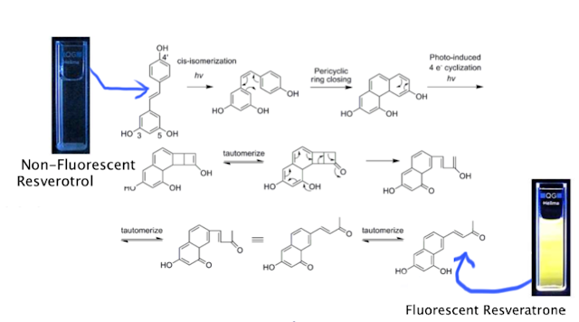 Photochemical generation of a new highly fluorescent compound from