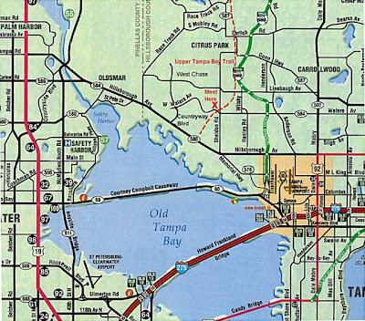 Map of Tampa Bay Florida