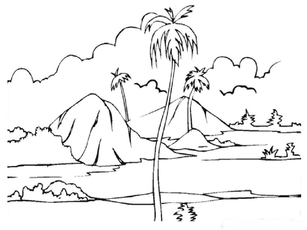 Sketsa Gambar Gunung Dan Laut   Garlerisket