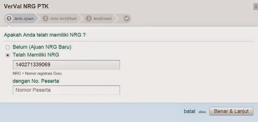 Isi NRG dan Nomor Peserta