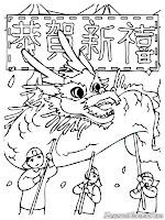 Lembar Mewarnai Gambar Lomba Barongsai Tahun Baru Imlek
