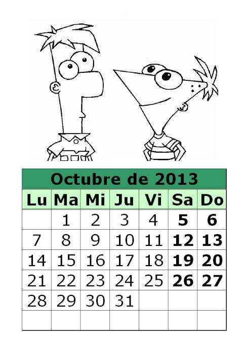 Calendario de Phineas y Fherb para colorear de 2013 (4ª parte ...