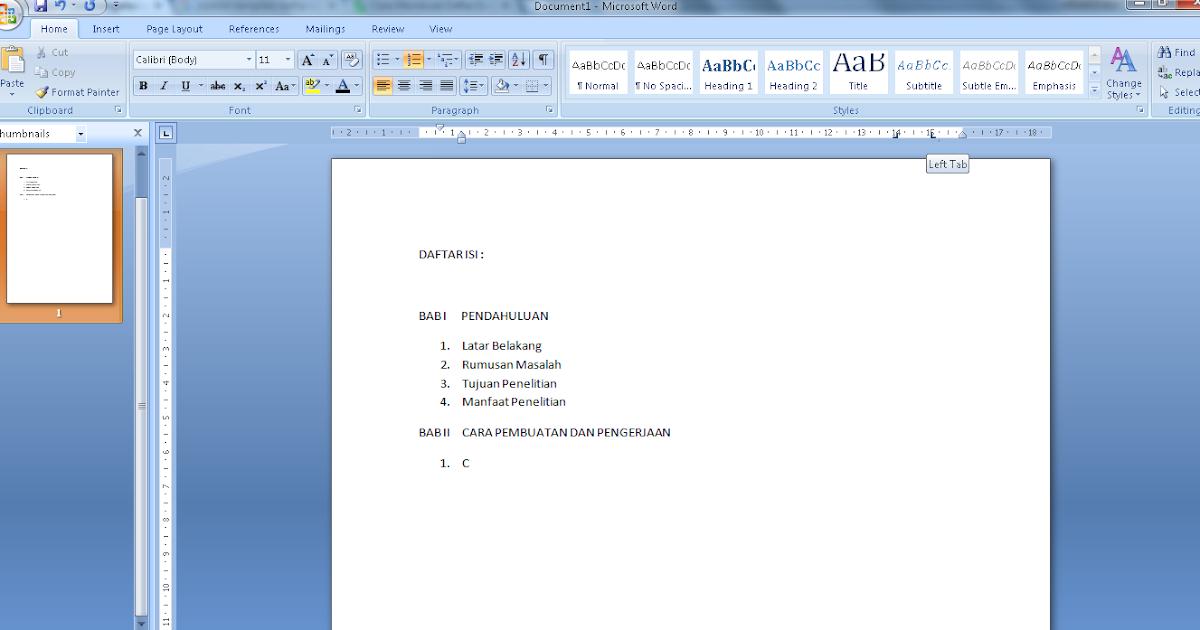 Cara simpel membuat titik otomatis pada daftar isi