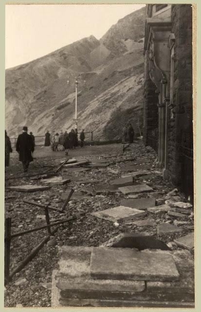 Storm damage North end of Marine Terrace, Aberystwyth, 1927.