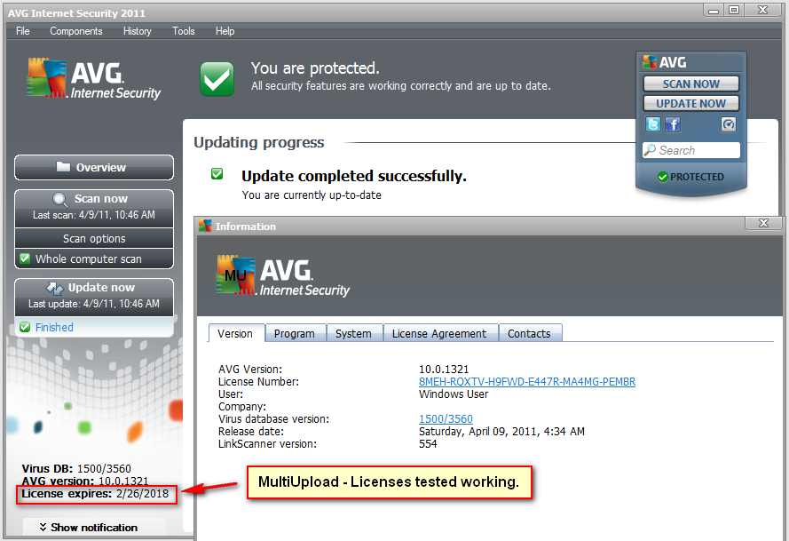 AVG Antivirus Pro With licenses working until 2018