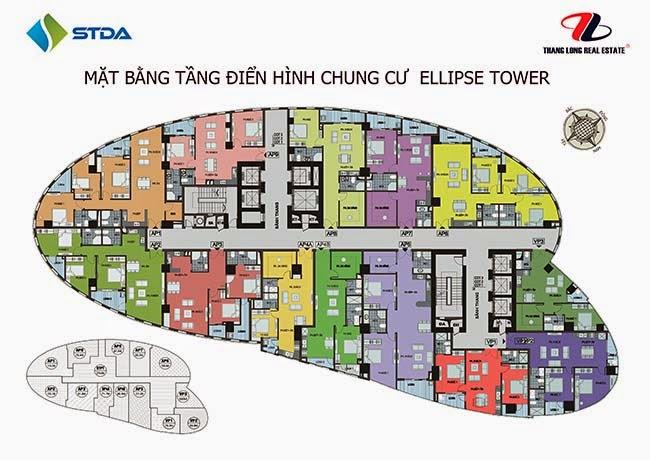 Mặt bằng tầng 6 - 20 chung cư Ellipse Tower 110 Trần Phú