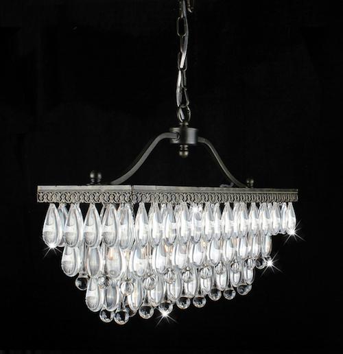 Overstock Crystal Glass Drop 3-Light Antique Copper Chandelier