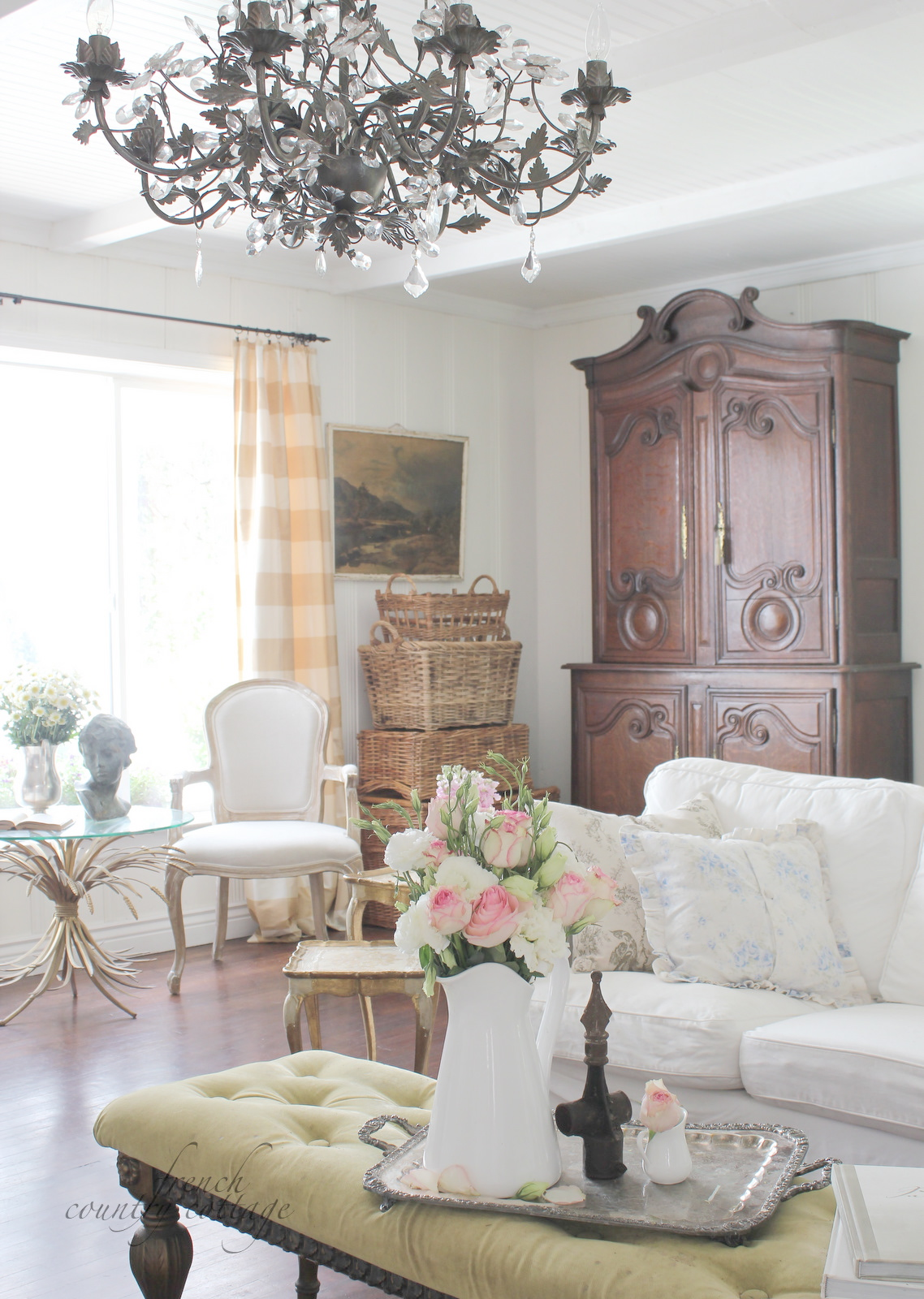 Summer living room french country cottage for French country family room