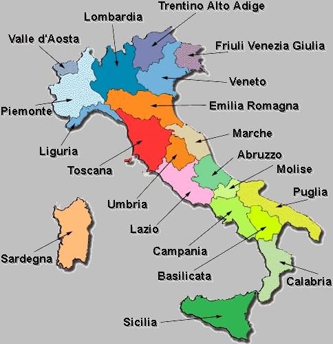 Mapa de Italia con los nombres