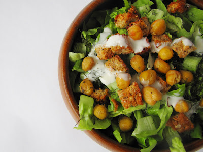 ... Lu's Kitchen: Baby Gem Salad with toasted chickpea and garlic croutons