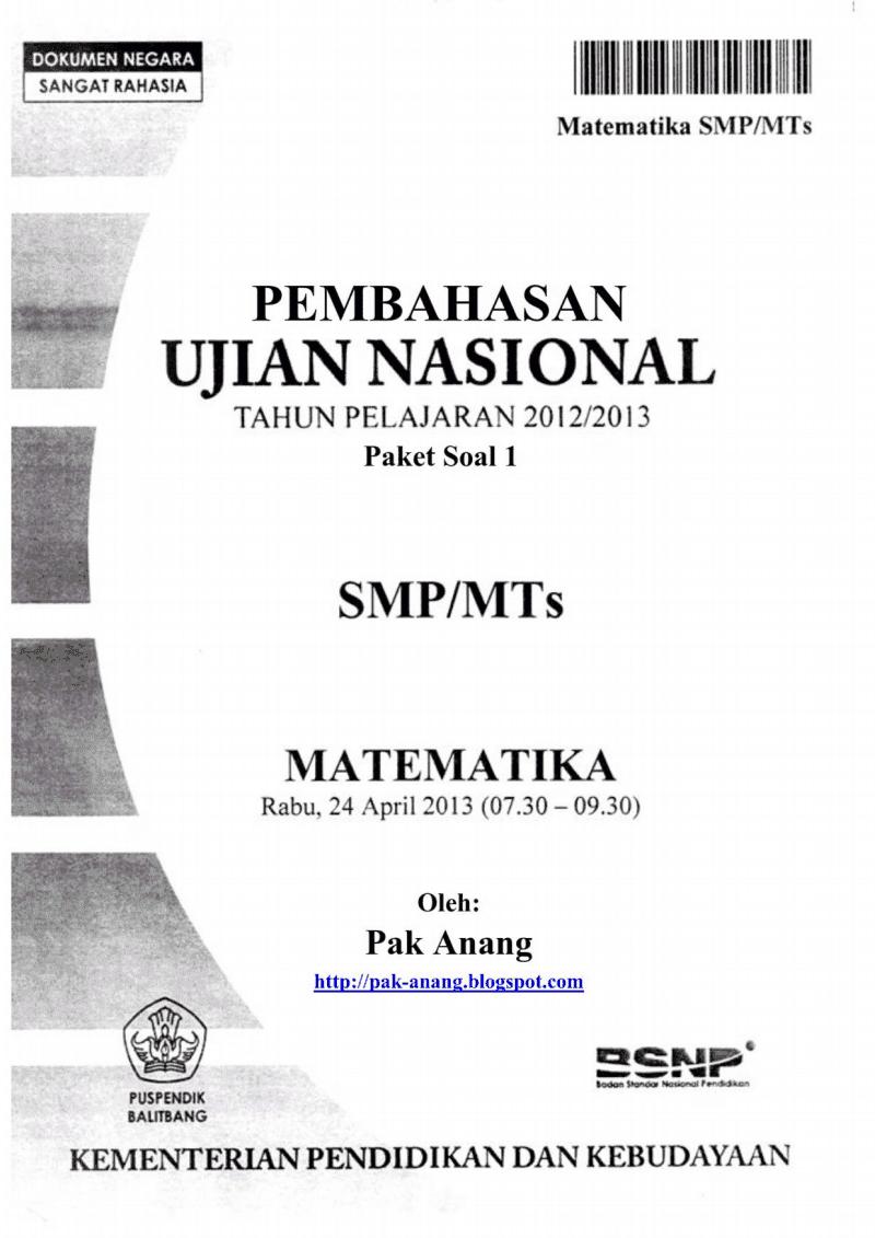 Pembahasan Soal UN Matematika SMP 2013 (TRIK SUPERKILAT) (Paket 1)