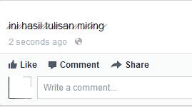 Tulisan Garis Miring Di Facebook