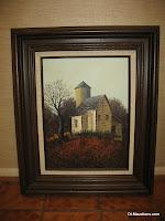 Original Framed Oil Painting Rustic Farm House