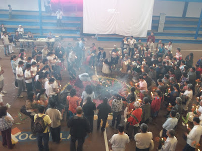 Ceremonio con la que inicio el foro informativo en contra de la minería en Xochitlan Puebla