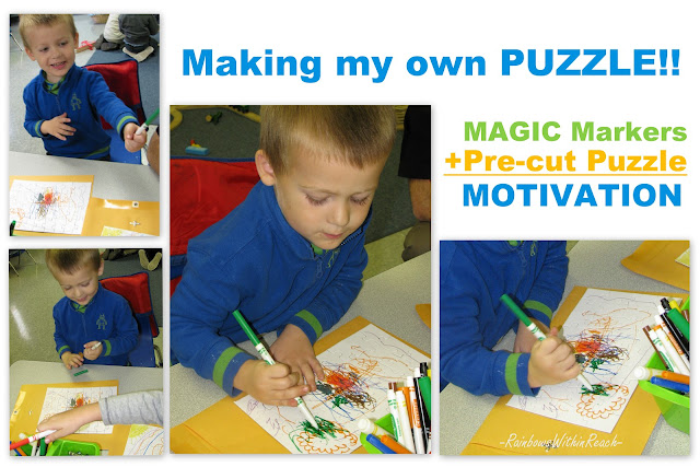 preschool boy, fine motor, markers, drawing, puzzle, color