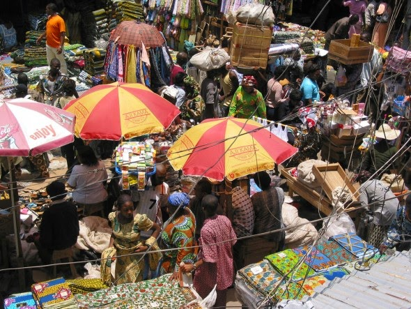 A crowded market in Lagos, Nigeria, Africa's most populous country.