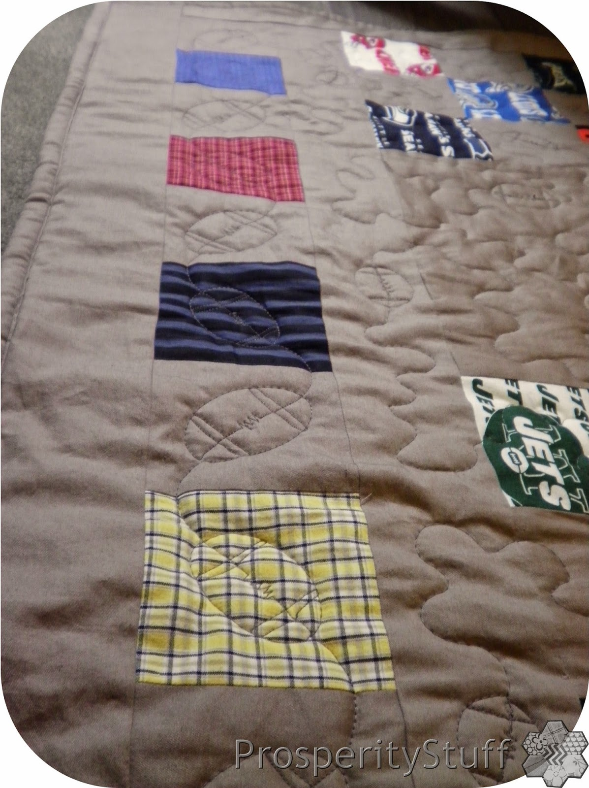 ProsperityStuff Quilt, made from sheet, shirts, & NFL fabric