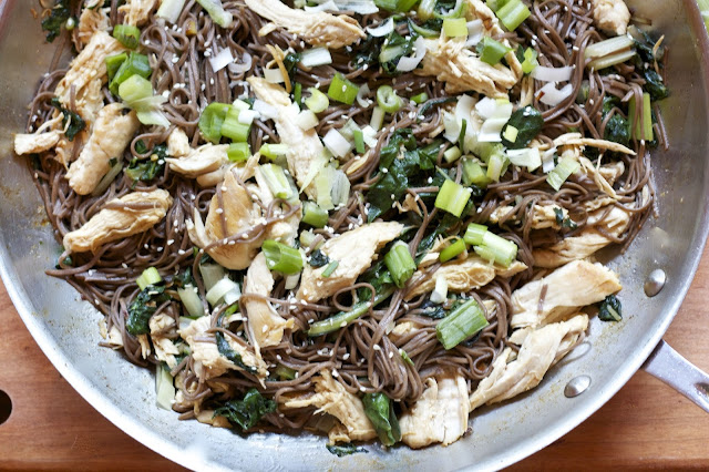 Chicken w/ Greens & Soba Noodles- simplelivingeating.com