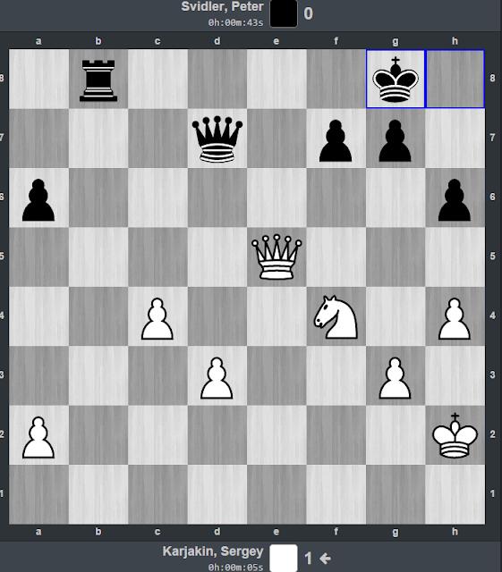 Posición tras realizar Svidler Rg8 dejando la torre de b8 a merced de la dama blanca.