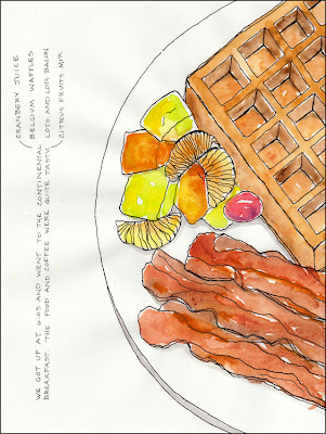 artist travel journal drawing of breakfast