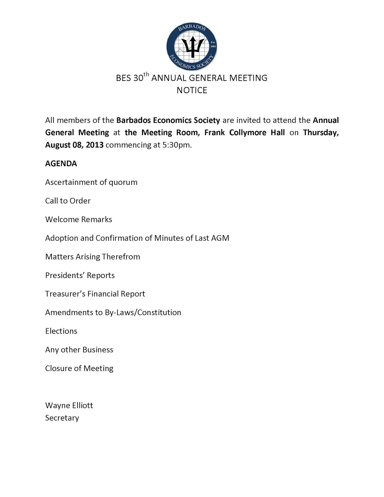 Agm notice 2013 barbados economics society agm notice 2013 thecheapjerseys Gallery