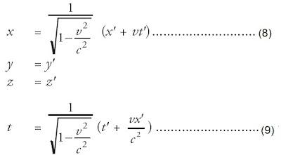persamaan transformasi Lorentz