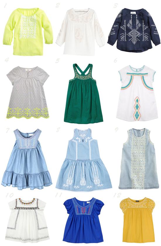 Prendas bordadas tendencia moda infantil primavera verano 2014