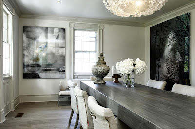 dining room with a style, displaying remarable picture perfect scene in silvery colors