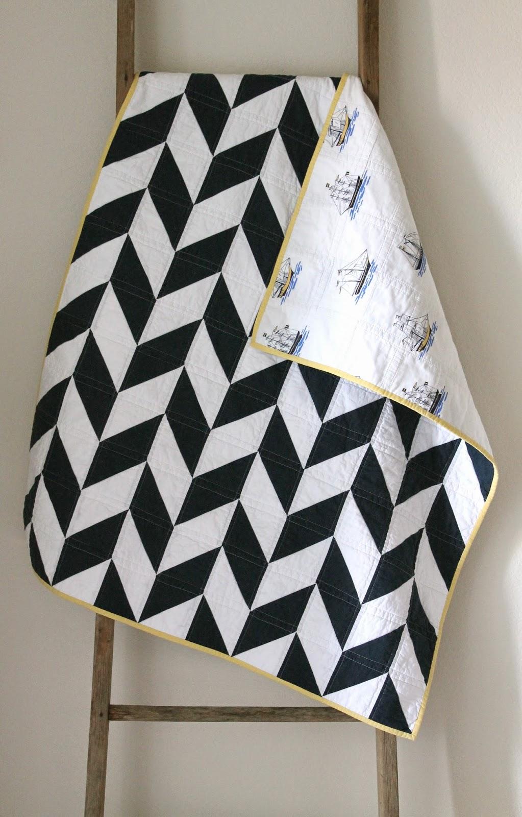 Craftyblossom Navy And White Nautical Herringbone Quilt