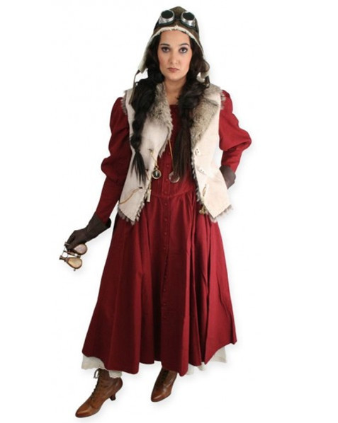 White and Wine Red Steampunk Clothing for Women