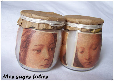 serviettage bougies/candles with decoupage