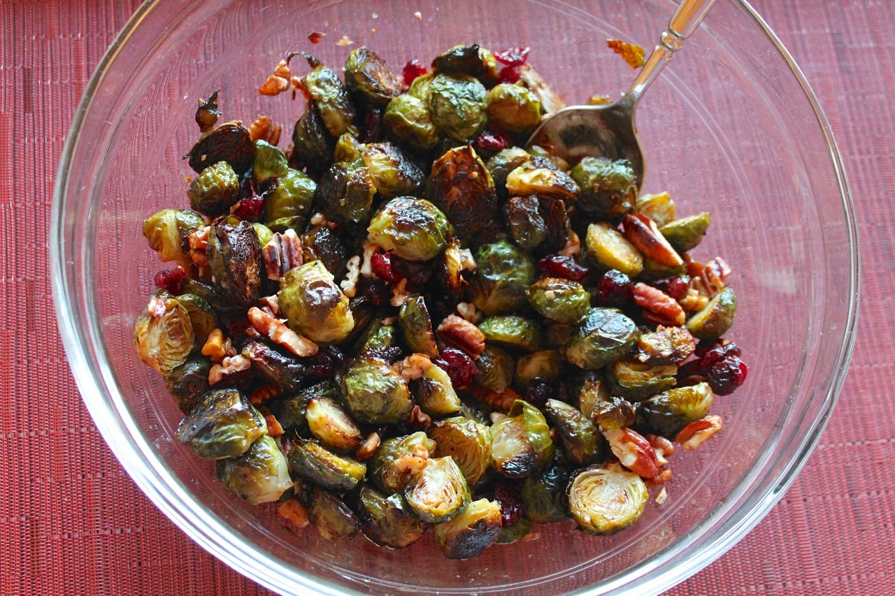Roasted Brussels Sprouts with Cranberries and Toasted Pecans