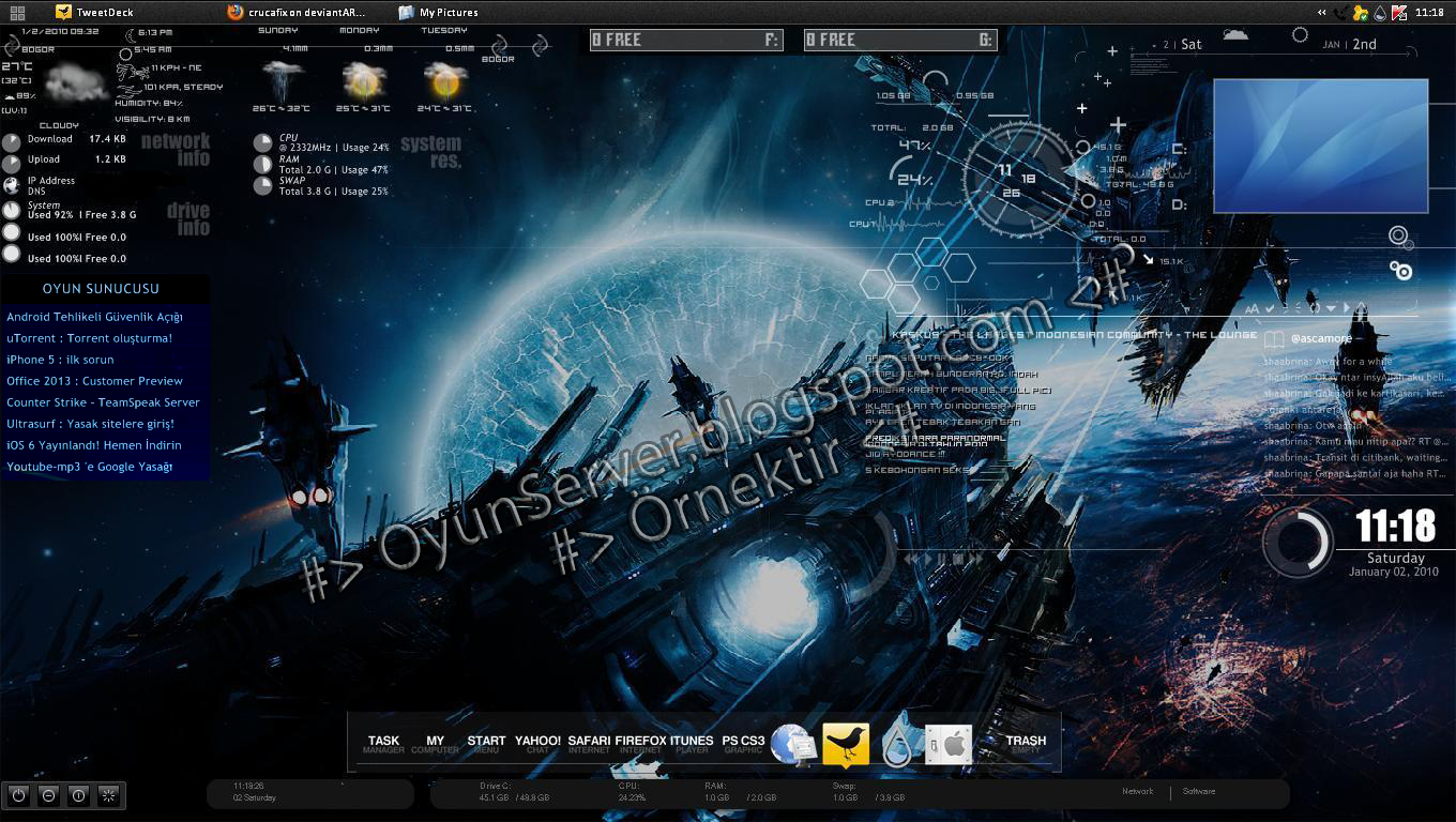 Oyun sunucusu ki isel masa st rainmeter for Bureau windows 7 rainmeter