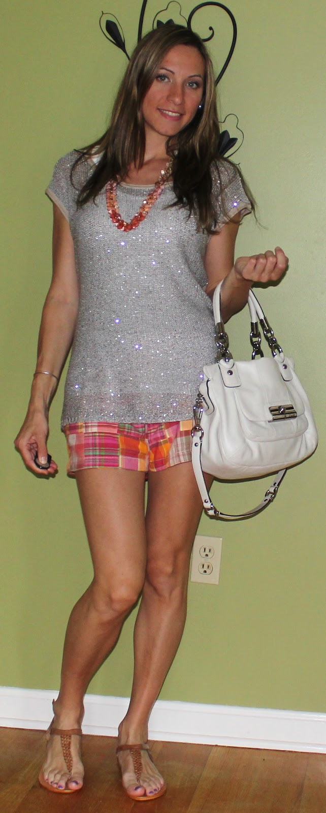 Casual Chic Mom: Ann Taylor LOFT Madras Shorts & Sparkling Sweater