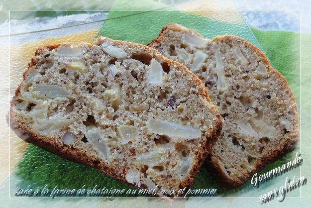 Cake à la farine de châtaignes au miel, noix et pommes