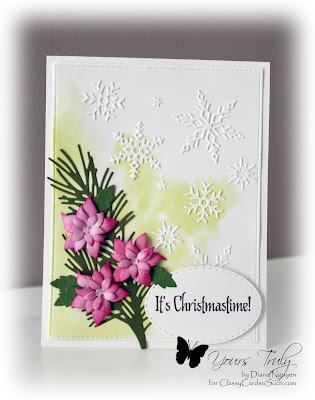 Diana Nguyen, Christmas, Poppystamps, poinsettia, snowflakes, Impression Obsession