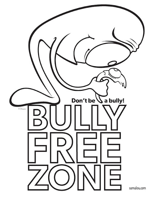 Bully Free Zone poster with cartoon aliens