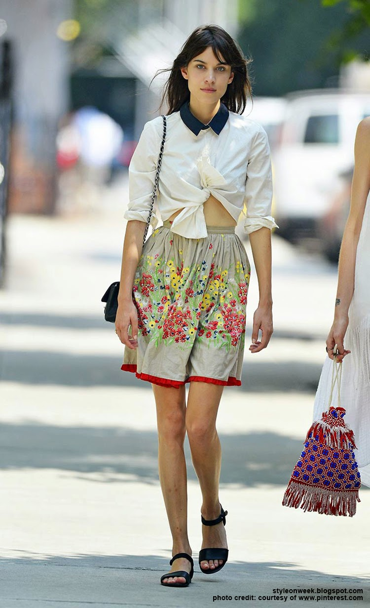 Celebrity Street Style - Alexa Chung Wears a Full Skirt With Floral Pattern