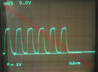 Przebiegi na linii CLK dla częstotliwości 4MHz.