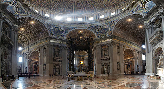 St Peter's Basilica (interior) in Vatican, Rome, Italy - walking tours | Travel Italy Guide